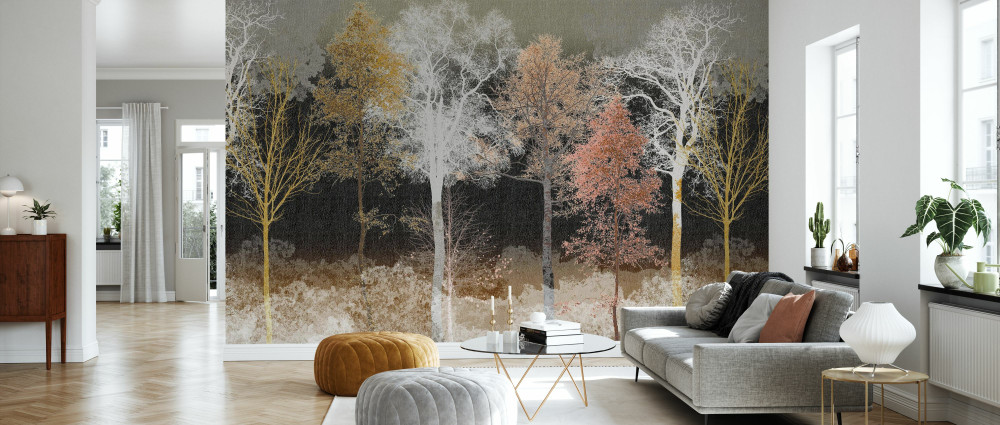 MURAL - HIDDEN BIRD BLACK OCHRE (PER SQM)