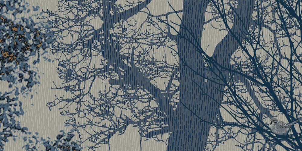 MURAL - HIDDEN BIRD BLUE GREY (PER SQM)