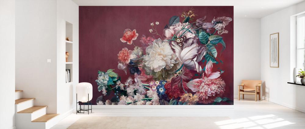 MURAL - BURGUNDY FLOWERS (PER SQM)