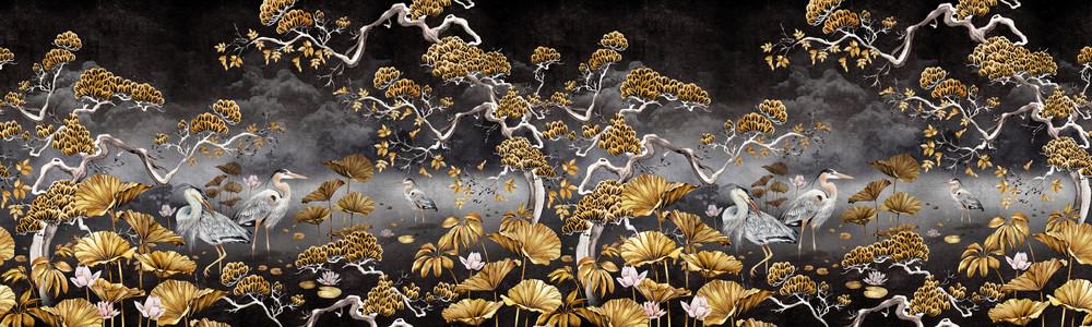 MURAL - ORIENT BLACK & GOLD (PER SQM)