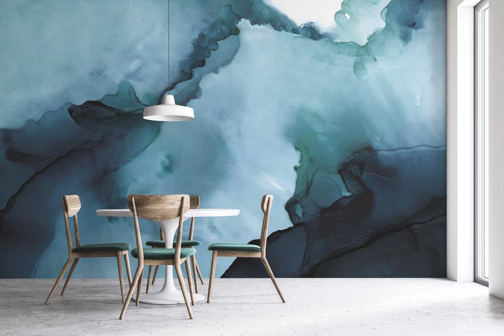 Mural - Watercolour Wall Blue (Per Sqm)