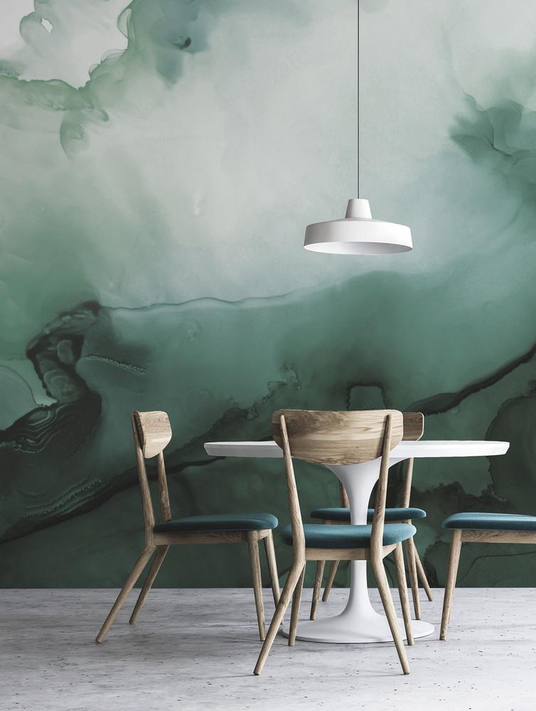Mural - Watercolour Wall Green (Per Sqm)