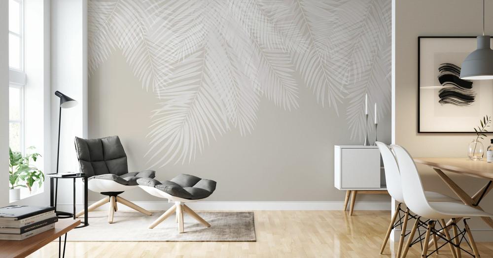 Mural - Hanging Palm Leaves Beige (Per Sqm)