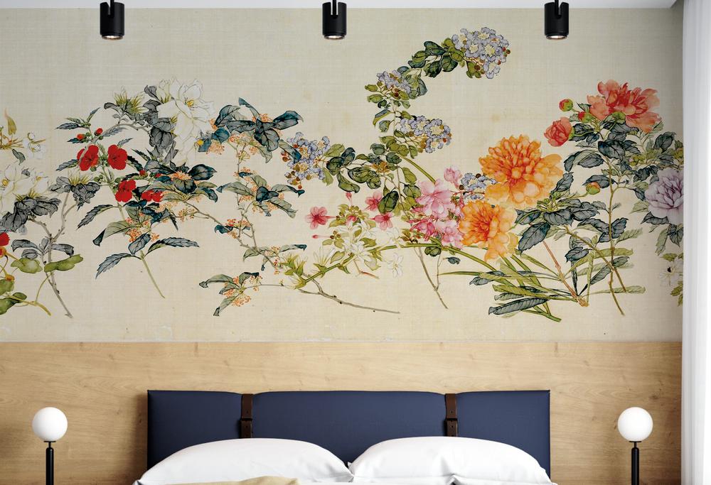Mural - Silk Chinoiserie Sepia (Per Sqm)