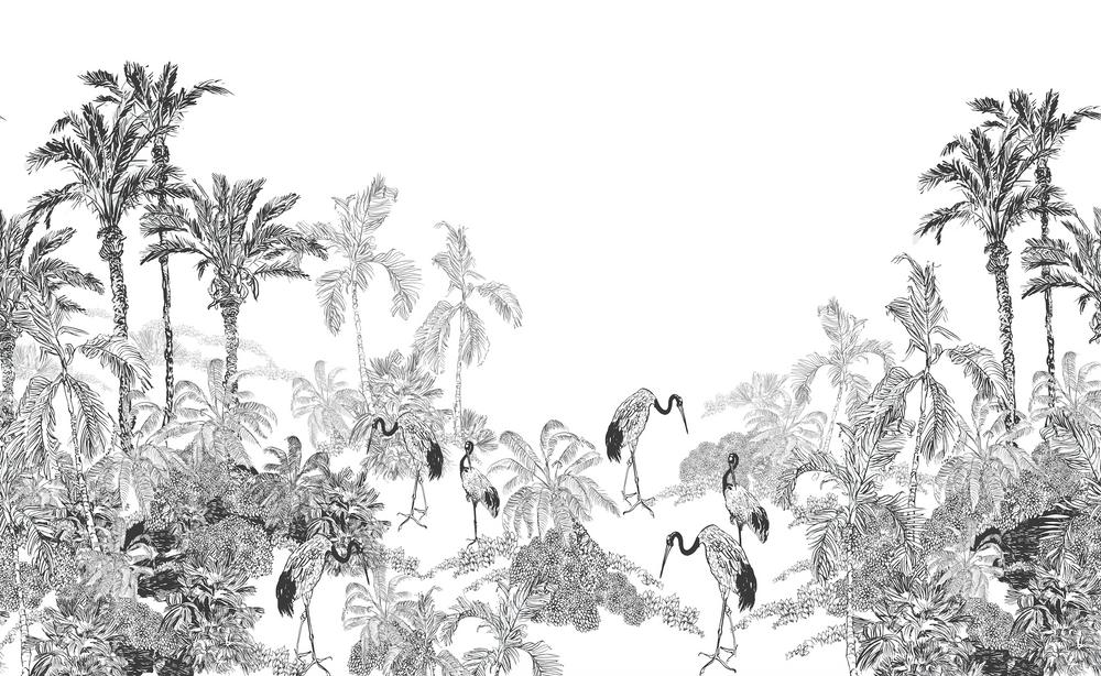 Mural - Crane Toile Monochrome (Per Sqm)