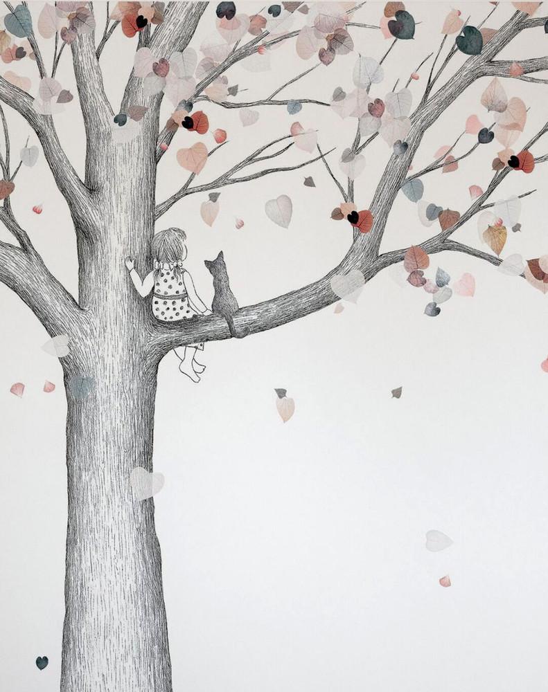 Mural - A Girl And Her Cat (Per Sqm)
