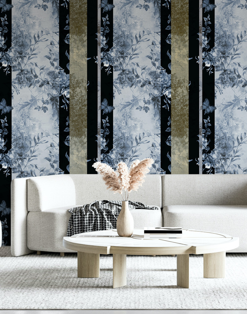 Mural - Heritage Stripe China Blue (Per Sqm)