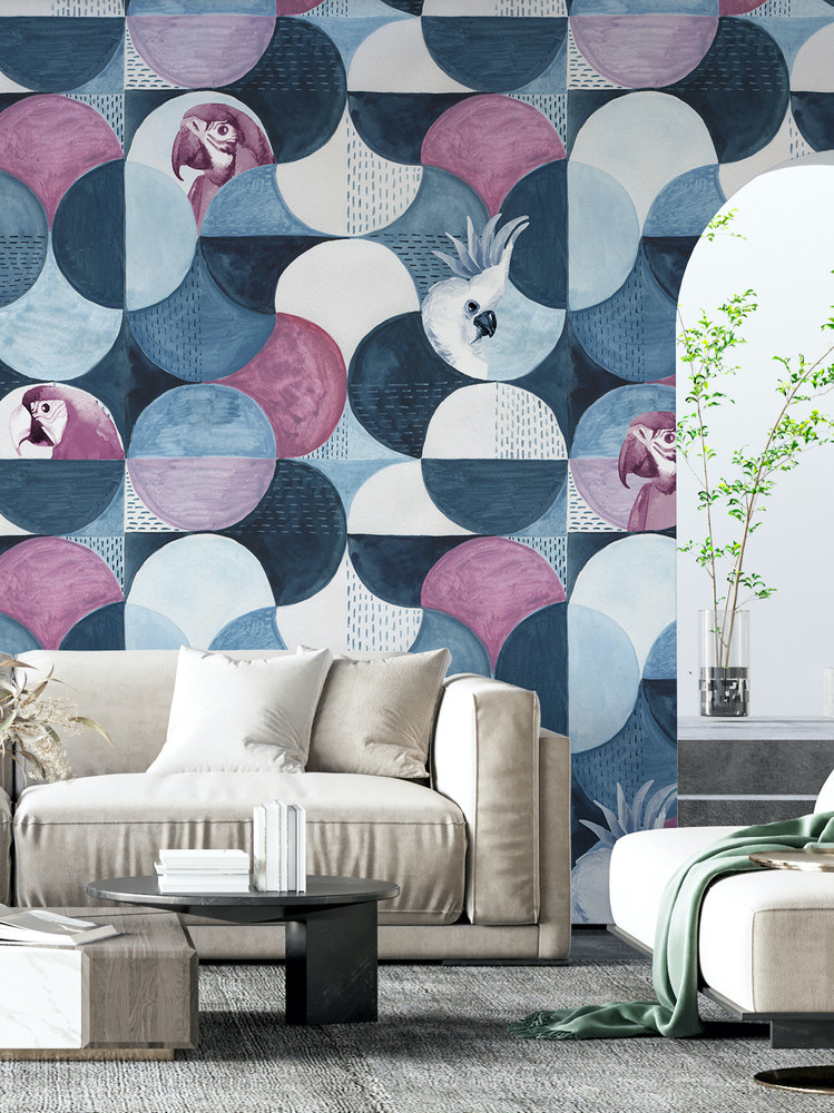 Mural - Hyde Birds Marine Blue (Per Sqm)