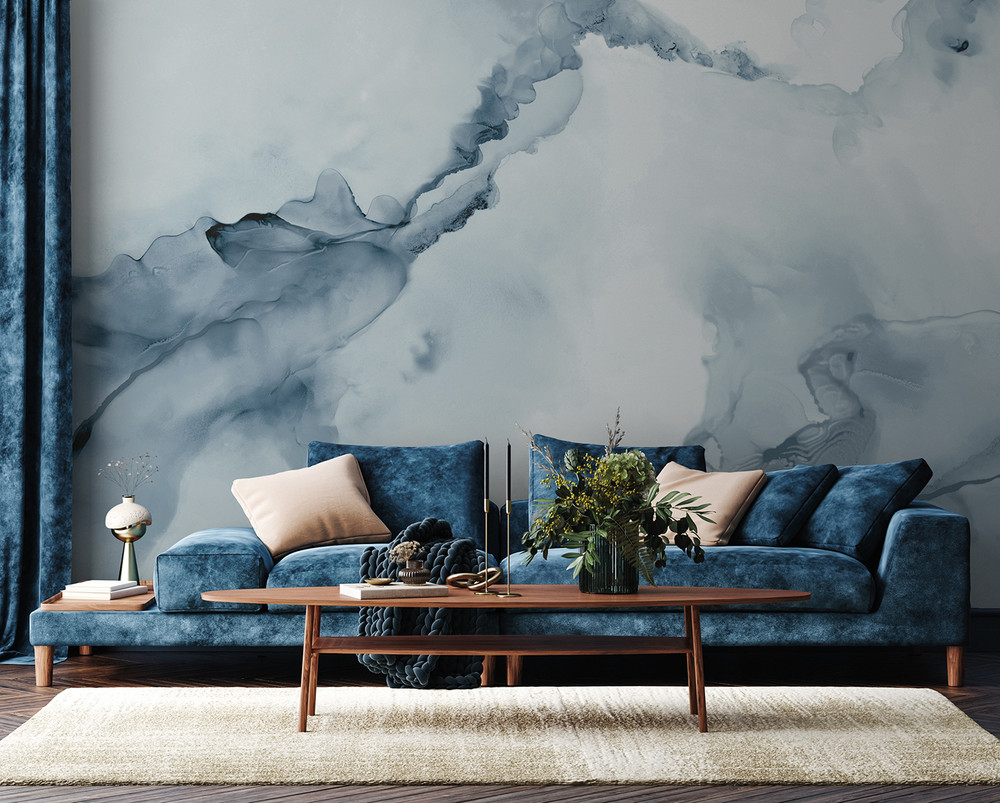 Mural - Watercolour Wall Soft Blue (Per Sqm)