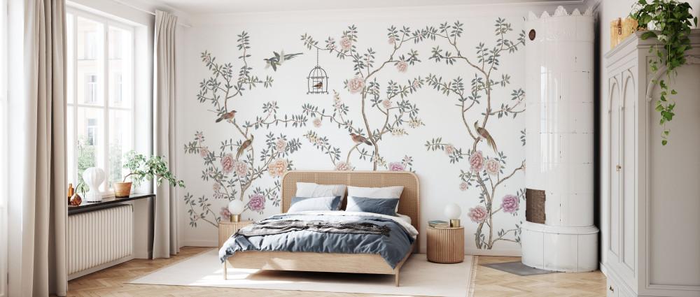 Mural - Birds Fairyland White (Per Sqm)
