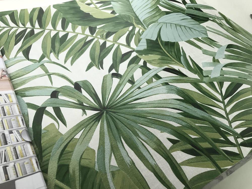 Alfresco Palm Leaf Green Natty Polly Wallpaper Australia