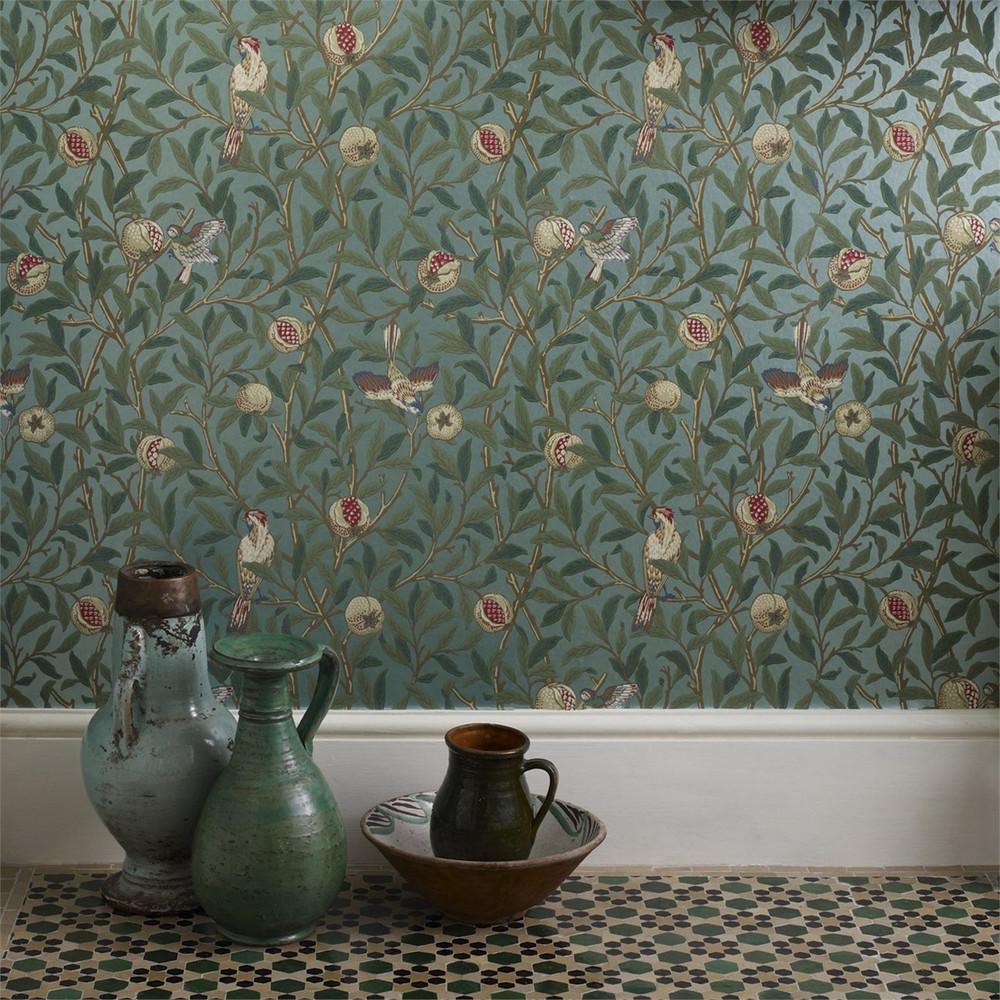 Bird & Pomegranate - Charcoal/sage