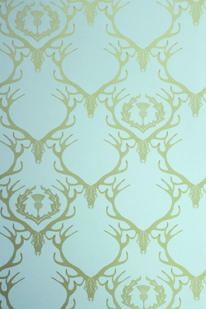 DEER DAMASK - DUCK EGG BLUE