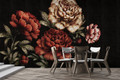 Mural - Peonies Black Linen (Per Sqm)