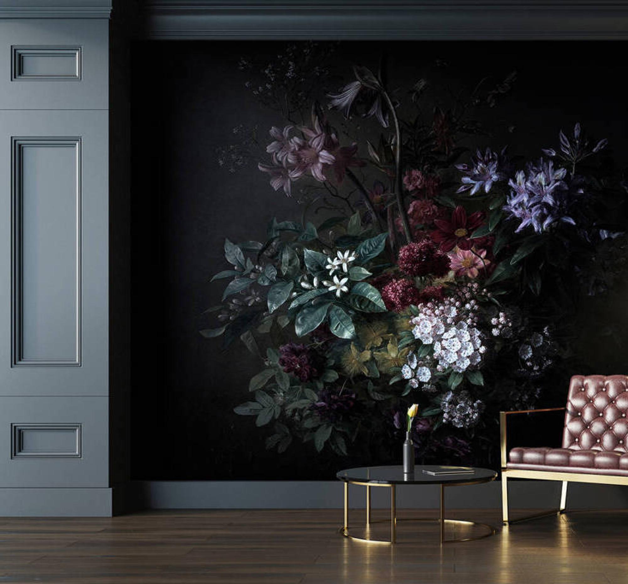 Mural Bouquet Noir 2 4m X 2 7m Natty Polly Wallpaper Australia