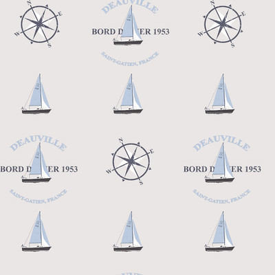 BOATS AND COMPASS - GREY / SKY BLUE