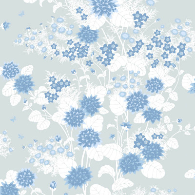 Chinese Floral - Surf / White