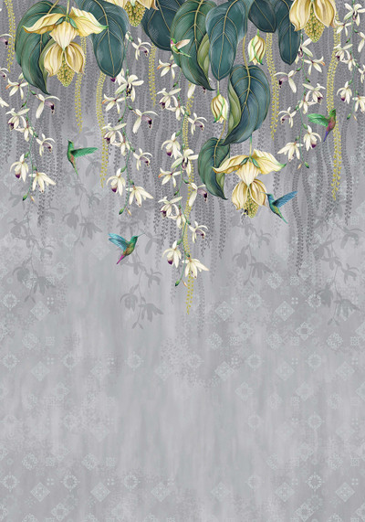 MURAL - TRAILING ORCHID GREY / YELLOW