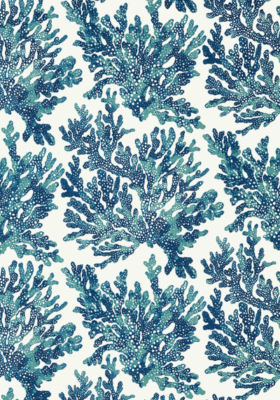 Marine Coral - Navy Blue