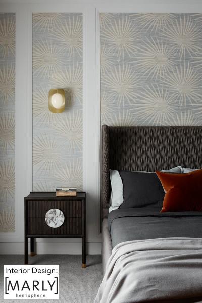 Palm Frond - Metallic Silver & Beige