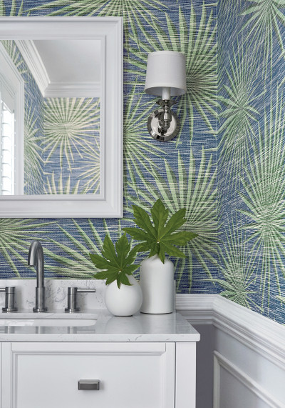 PALM FROND - NAVY & GREEN
