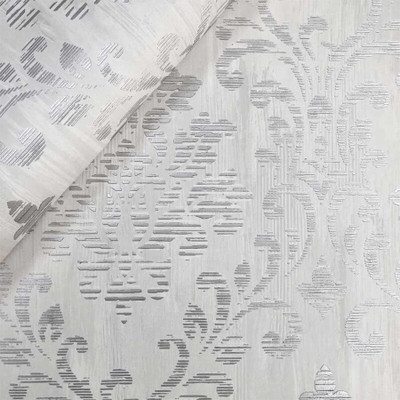 Couture Damask - White / Grey / Silver
