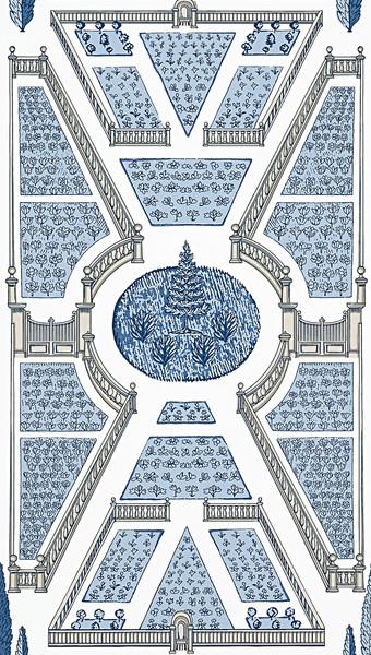 Aerial Garden - Blue / White