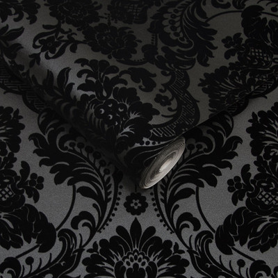 GOTHIC DAMASK FLOCKED - NOIR