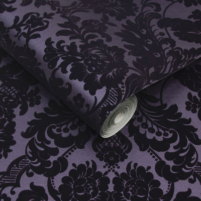 GOTHIC DAMASK FLOCKED - PLUM