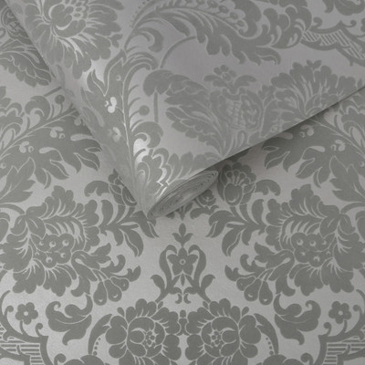 Gothic Damask Flocked - Grey / Silver