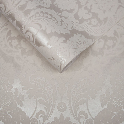Gothic Damask Flocked - White