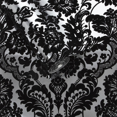 GOTHIC DAMASK FLOCKED - BLACK / SILVER