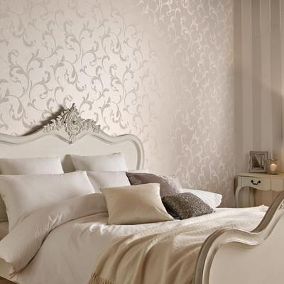 Baroque Beaded Wallpaper - Pearl