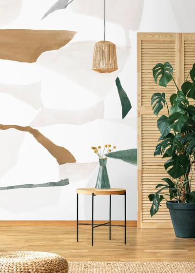 Mural - Fractal Pale Green & Ochra (Per Sqm)