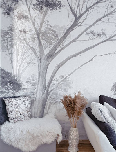 MURAL - TREE GREY / WHITE (PER SQM)