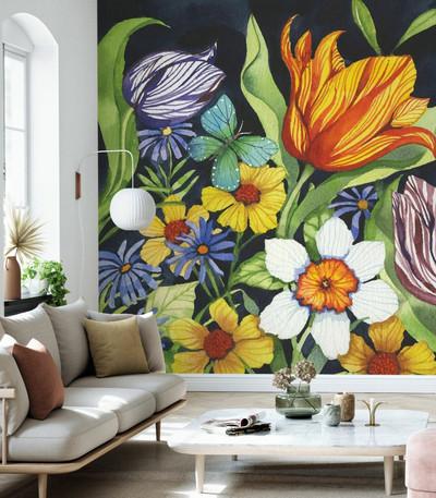 Mural - Floral Noir (Per Sqm)