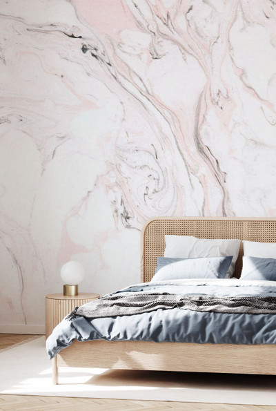 Mural - Suminagashi Marbling Pink Ii (Per Sqm)