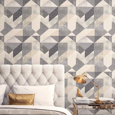 Silk Screen Geometric - Charcoal / Beige