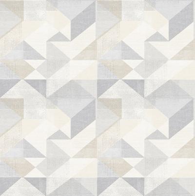 Silk Screen Geometric - Biscuit / Grey