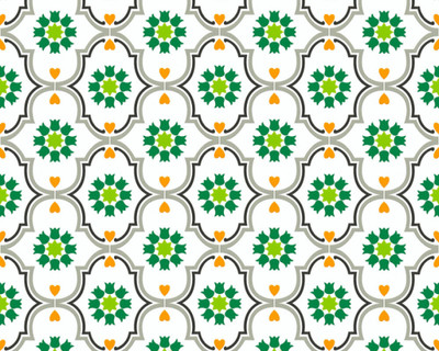 COTTAGE FLOWERS - GREEN / WHITE