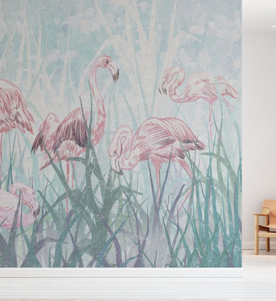 MURAL - FLAMINGOS IN THE GRASS (PER SQM)