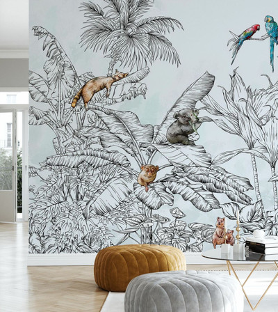 Mural - Hello Jungle Animals (Per Sqm)