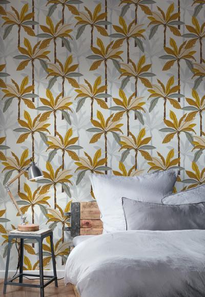 Nordic Palms - Ochre / Grey