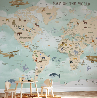 Mural - Wildlife World Map (Per Sqm)