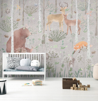MURAL - WILDLIFE GREY (PER SQM)