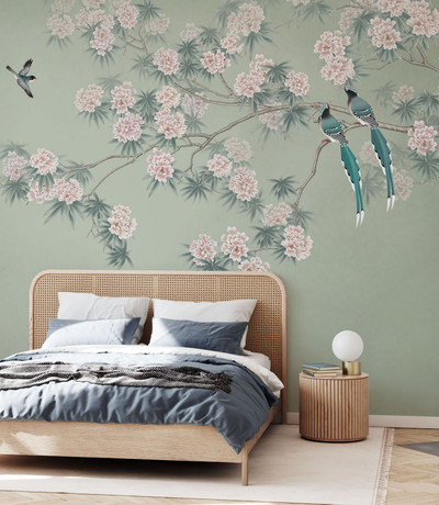 MURAL - BIRD BRANCH GREEN (PER SQM)