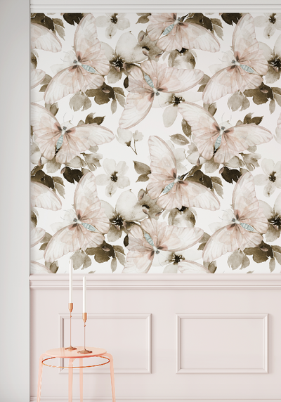 Mural - Watercolour Butterfly Blush (Per Sqm)