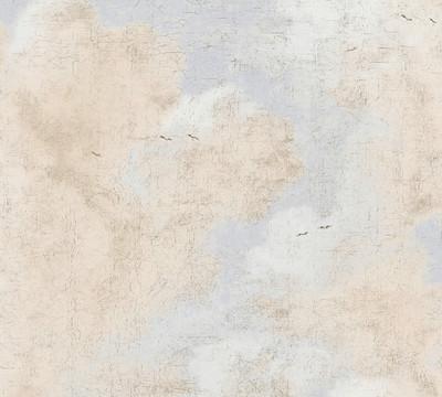 Distressed Clouds - Blue / Beige
