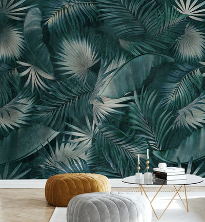 MURAL - TROPICAL LEAVES GREEN (PER SQM)