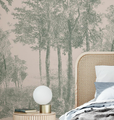 MURAL - SLOW MEANDER PINK & GREEN (PER SQM)